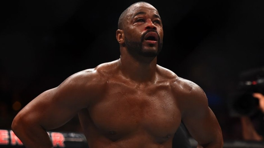 HOUSTON, TX - OCTOBER 03: Rashad Evans walks back to his corner between rounds against Ryan Bader in their light heavyweight bout during the UFC 192 event at the Toyota Center on October 3, 2015 in Houston, Texas. (Photo by Jeff Bottari/Zuffa LLC/Zuffa LLC via Getty Images)