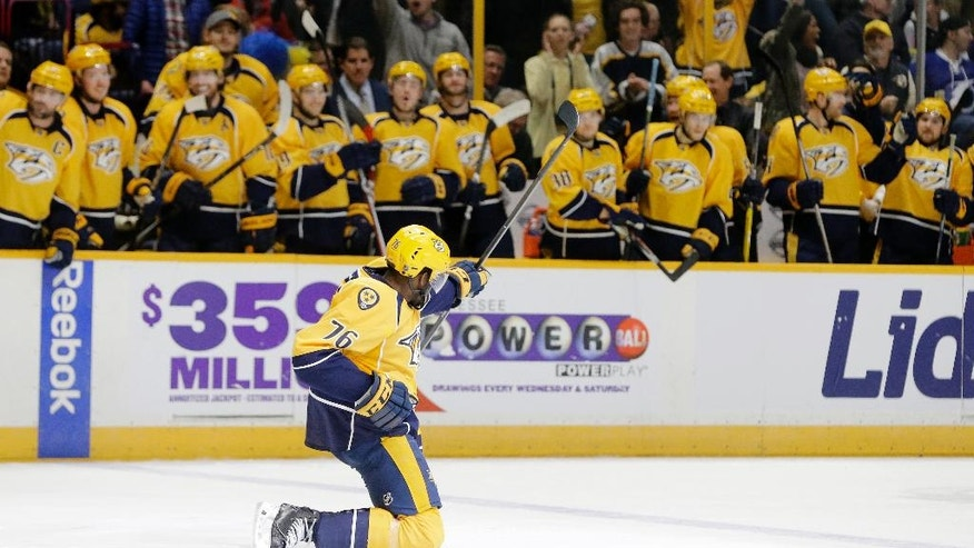 Nashville Predators defenseman P.K. Subban (76) celebrates after scoring his second goal of the game against the Tampa Bay Lightning during the second period of an NHL hockey game Monday, Nov. 21, 2016, in Nashville, Tenn. (AP Photo/Mark Humphrey)