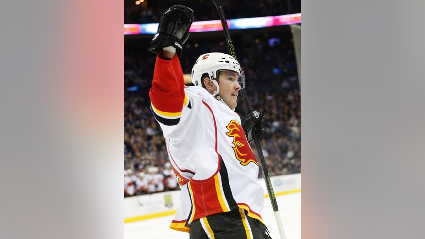 Calgary Flames' Micheal Ferland celebrates his goal against the Columbus Blue Jackets' during the third period of an NHL hockey game Wednesday, Nov. 23, 2016, in Columbus, Ohio. The Flames beat the Blue Jackets 2-0. (AP Photo/Jay LaPrete)