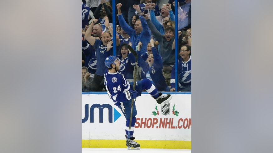 Tampa Bay Lightning right wing Ryan Callahan (24) celebrates his goal against the Philadelphia Flyers during the third period of an NHL hockey game, Wednesday, Nov. 23, 2016, in Tampa, Fla. The Lightning won the game 4-2. (AP Photo/Chris O'Meara)