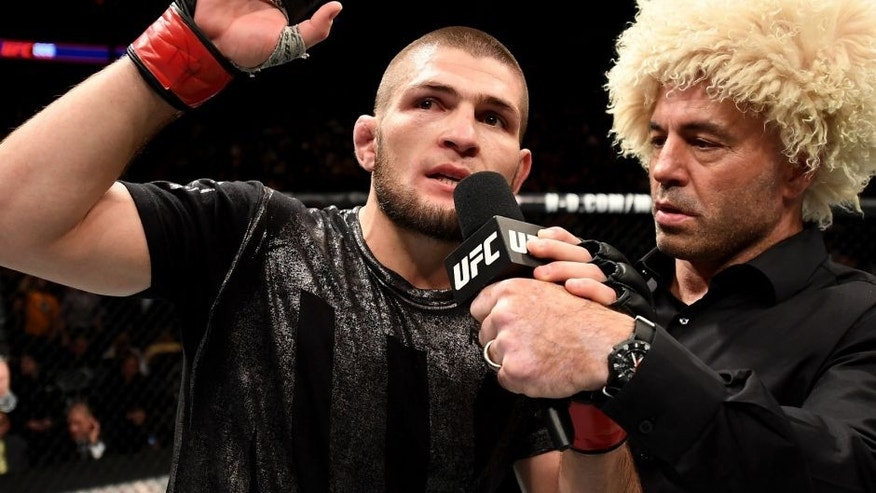 NEW YORK, NY - NOVEMBER 12: Khabib Nurmagomedov of Russia is awarded victory by KO over Michael Johnson of the United States in their lightweight bout during the UFC 205 event at Madison Square Garden on November 12, 2016 in New York City. (Photo by Jeff Bottari/Zuffa LLC/Zuffa LLC via Getty Images)