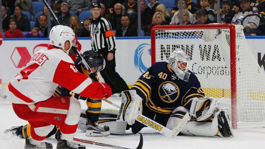 Detroit Red Wings forward Gustav Nyquist (14) puts the puck past Buffalo Sabres goalie Robin Lehner (40) during the second period of an NHL hockey game, Wednesday, Nov. 23, 2016, in Buffalo, N.Y. (AP Photo/Jeffrey T. Barnes)
