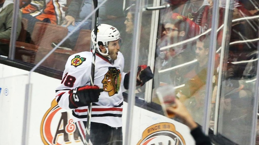 Chicago Blackhawks right winger Ryan Hartman (38), and some fans, celebrate his goal against the Anaheim Ducks in the second period of an NHL hockey game in Anaheim, Calif., Friday, Nov. 25, 2016. (AP Photo/Reed Saxon)