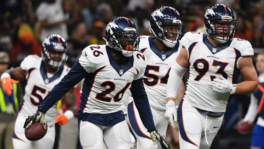 NEW ORLEANS, LA - NOVEMBER 13: Denver Broncos free safety Darian Stewart #26 celebrates his interception against the New Orleans Saints at the Mercedes-Benz Superdome New Orleans, LA Sunday, November 13, 2016. (Photo by Joe Amon/The Denver Post via Getty Images)