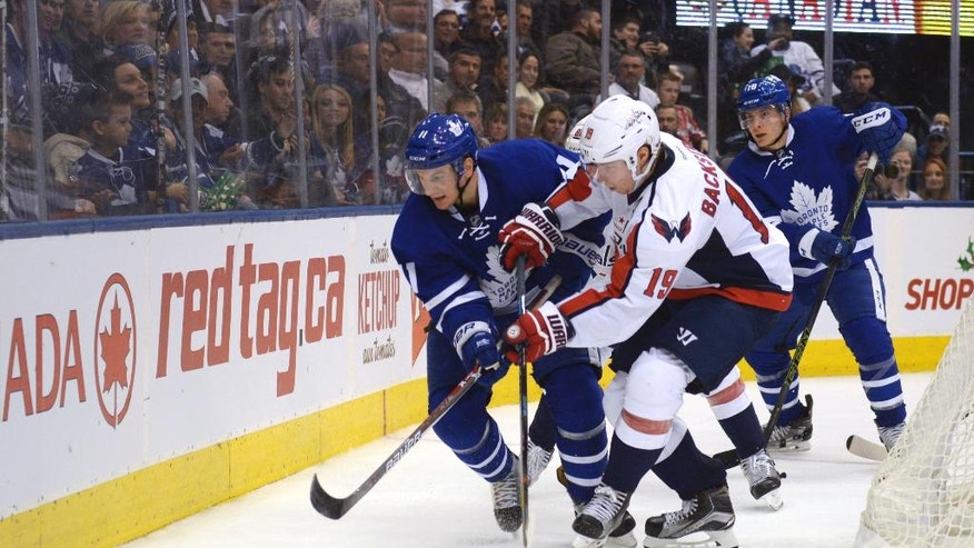 Toronto Maple Leafs' Zach Hyman, left, fights for the puck with Washington Capitals' Nicklas Backstrom during the second period of an NHL hockey game in Toronto, Saturday, Nov. 26, 2016. (Jon Blacker/The Canadian Press via AP)