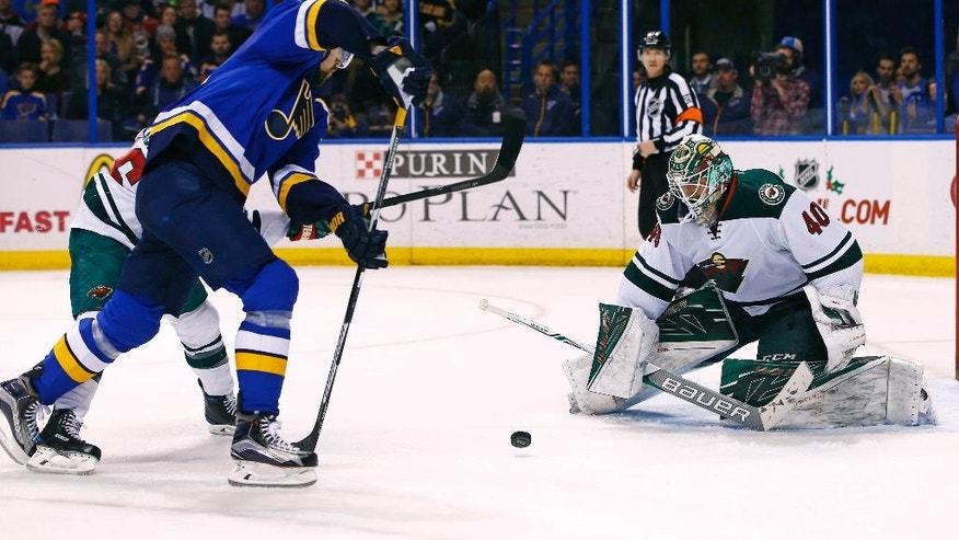Minnesota Wild goalie Devan Dubnyk blocks a shot by St. Louis Blues' Patrik Berglund, of Sweden, during the second period of an NHL hockey game Saturday, Nov. 26, 2016, in St. Louis. (AP Photo/Billy Hurst)