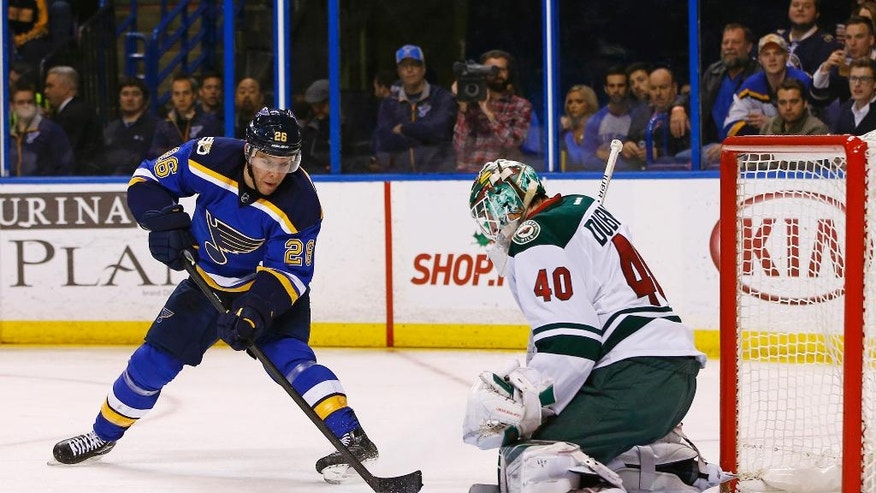 St. Louis Blues' Paul Stastny, left, has his shot blocked by Minnesota Wild goalie Devan Dubnyk during the second period of an NHL hockey game Saturday, Nov. 26, 2016, in St. Louis. (AP Photo/Billy Hurst)