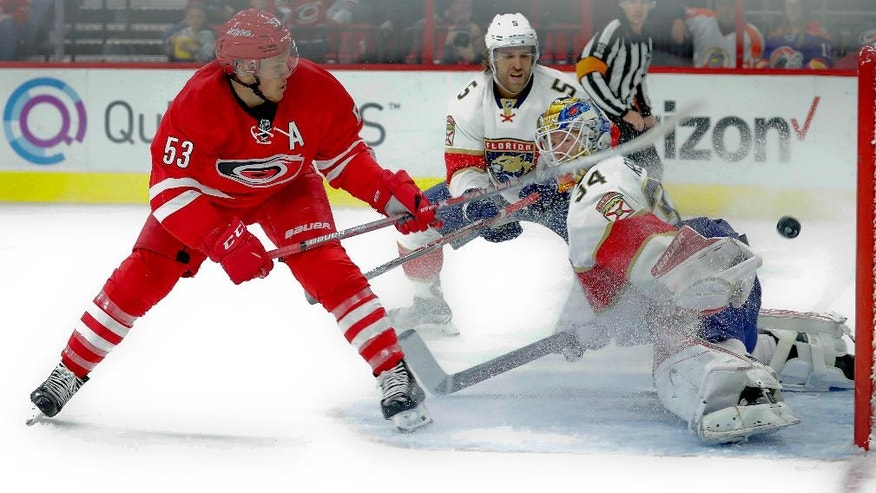 Carolina Hurricanes' Jeff Skinner (53) shoots the puck past Florida Panthers goalie James Reimer (34) for a goal during the second period of an NHL hockey game, Sunday, Nov. 27, 2016, in Raleigh, N.C. (AP Photo/Karl B DeBlaker)