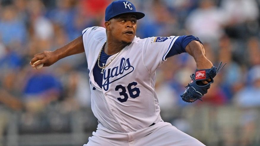 Sep 15, 2016; Kansas City, MO, USA; Kansas City Royals pitcher Edinson Volquez (36) delivers a pitch against the Oakland Athletics during the second inning at Kauffman Stadium. Mandatory Credit: Peter G. Aiken-USA TODAY Sports