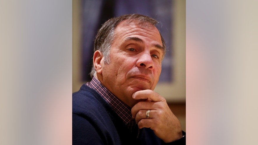 Bruce Arena, back in charge of the U.S. national soccer team for the first time in a decade, is interviewed in New York, Tuesday, Nov. 29, 2016. Arena was hired last week to replace Jurgen Klinsmann as U.S. coach following losses at home to Mexico and at Costa Rica in the first two games in the final round of World Cup qualifying. (AP Photo/Bebeto Matthews)