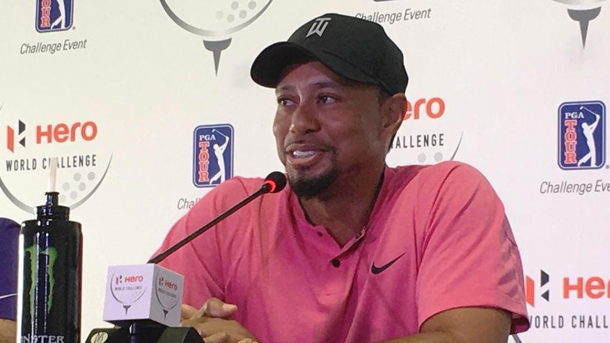 Tiger Woods speaks at a press conference for the Hero World Challenge golf tournament in Nassau, Bahamas, Tuesday, Nov. 29, 2016. (AP Photo/Doug Ferguson)