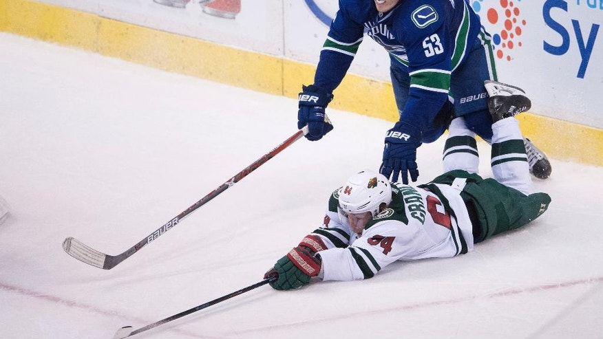 Minnesota Wild's Mikael Granlund, bottom, of Finland, stretches to reach the puck in front of Vancouver Canucks' Bo Horvat during the third period of an NHL hockey game Tuesday, Nov. 29, 2016, in Vancouver, British Columbia. (Darryl Dyck/The Canadian Press via AP)