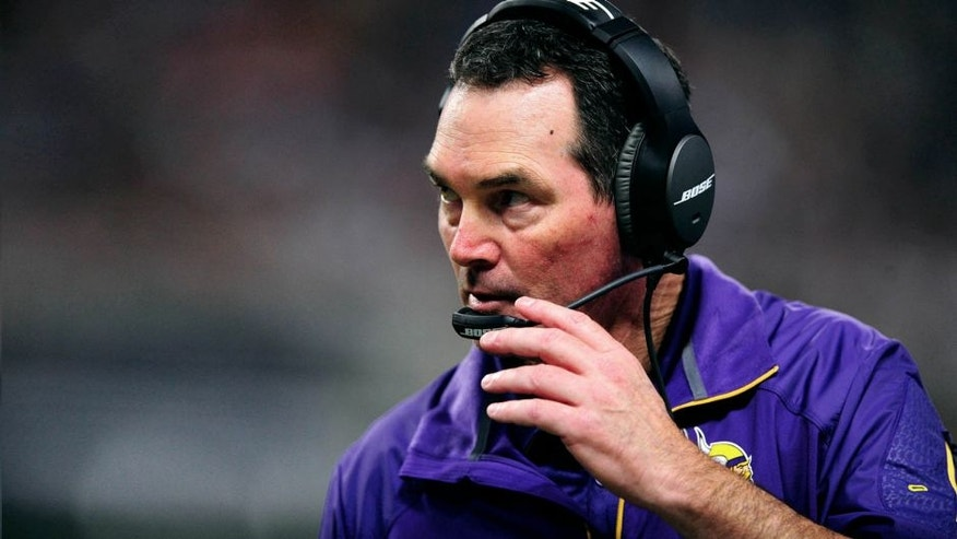 Sep 7, 2014; St. Louis, MO, USA; Minnesota Vikings head coach Mike Zimmer looks on during the second half against the St. Louis Rams at the Edward Jones Dome. The Vikings defeated the Rams 34-6. Mandatory Credit: Jeff Curry-USA TODAY Sports