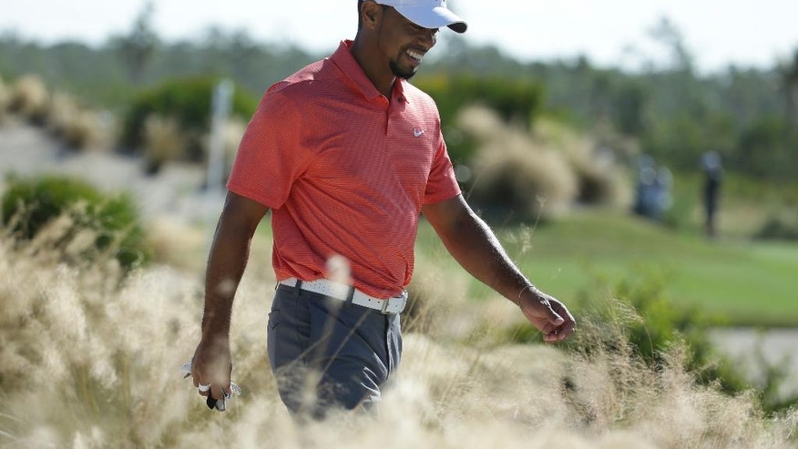 Tiger Woods walks from the seventh tee during the Pro-Am at the Hero World Challenge golf tournament, Wednesday, Nov. 30, 2016, in Nassau, Bahamas. (AP Photo/Lynne Sladky)