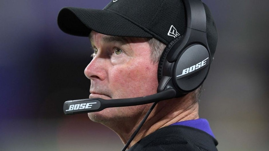 Minnesota Vikings head coach Mike Zimmer reacts during a NFL game against the Los Angeles Rams at U.S. Bank Stadium.
