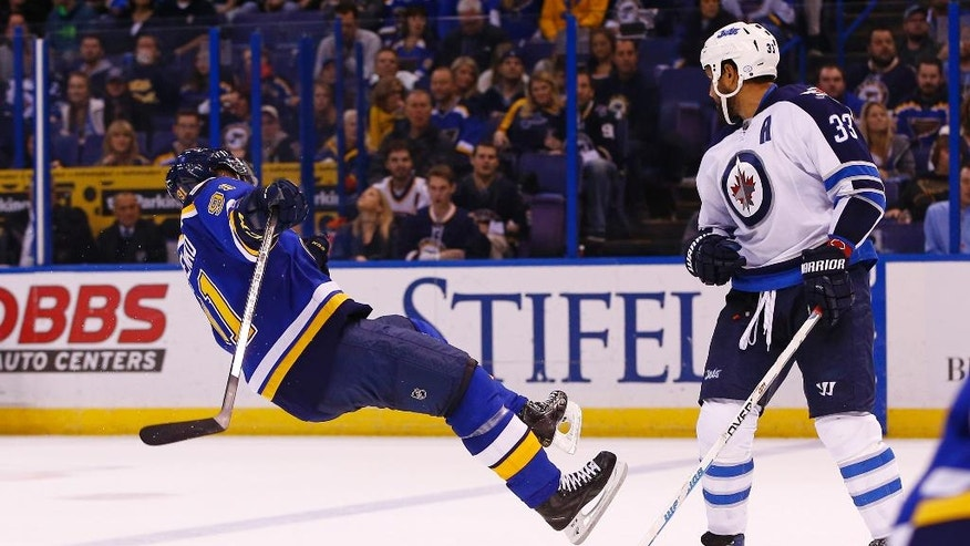 St. Louis Blues' Vladimir Tarasenko, left, of Russia, is checked to the ice by Winnipeg Jets' Dustin Byfuglien during the second period of an NHL hockey game Saturday, Dec. 3, 2016, in St. Louis. (AP Photo/Billy Hurst)