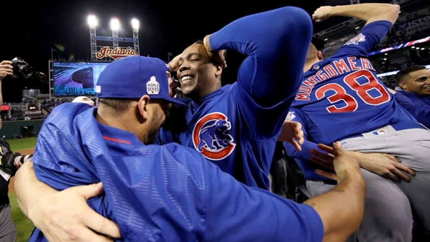 CLEVELAND, OH - NOVEMBER 02:  Aroldis Chapman #54 of the Chicago Cubs celebrates with teammates after defeating the Cleveland Indians 8-7 in Game Seven of the 2016 World Series at Progressive Field on November 2, 2016 in Cleveland, Ohio. The Cubs win their first World Series in 108 years.  (Photo by Ezra Shaw/Getty Images)
