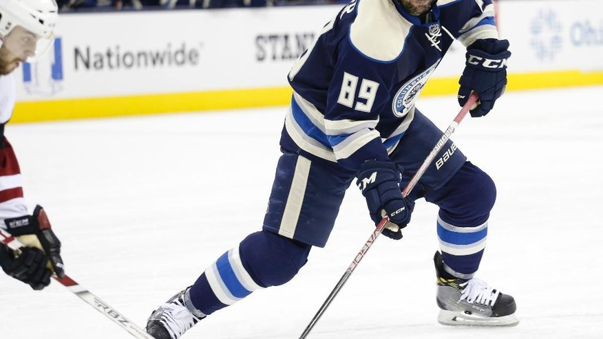 Columbus Blue Jackets' Sam Gagner looks for an open shot against the Arizona Coyotes during the second period of an NHL hockey game Monday, Dec. 5, 2016, in Columbus, Ohio. The Blue Jackets defeated the Coyotes 4-1. (AP Photo/Jay LaPrete)