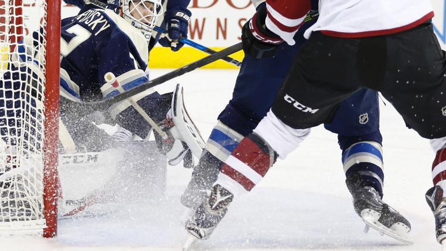 Columbus Blue Jackets' Sergei Bobrovsky, of Russia, protects the net against the Arizona Coyotes during the third period of an NHL hockey game Monday, Dec. 5, 2016, in Columbus, Ohio. The Blue Jackets defeated the Coyotes 4-1. (AP Photo/Jay LaPrete)