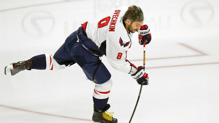 Washington Capitals forward Alex Ovechkin (8) skates prior to the first period of an NHL hockey game against the Buffalo Sabres, Friday, Dec. 9, 2016, in Buffalo, N.Y. (AP Photo/Jeffrey T. Barnes)