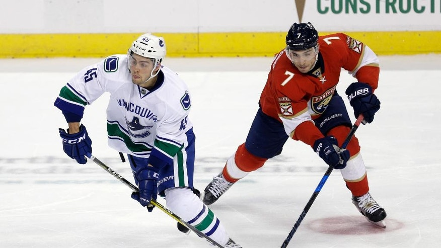 Vancouver Canucks center Michael Chaput (45) prepares to pass as Florida Panthers center Colton Sceviour (7) defends in the second period of an NHL hockey game, Saturday, Dec. 10, 2016, in Sunrise, Fla. (AP Photo/Alan Diaz)