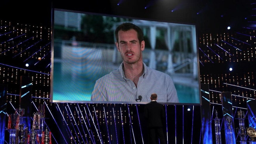 Andy Murray is interviewed by Gary Lineker over a video link prior to the announcement of him winning the BBC Sports Personality of the Year 2016 at The Genting Arena, Birmingham, England,  Sunday Dec. 18, 2016. (David Davies/PA via AP)