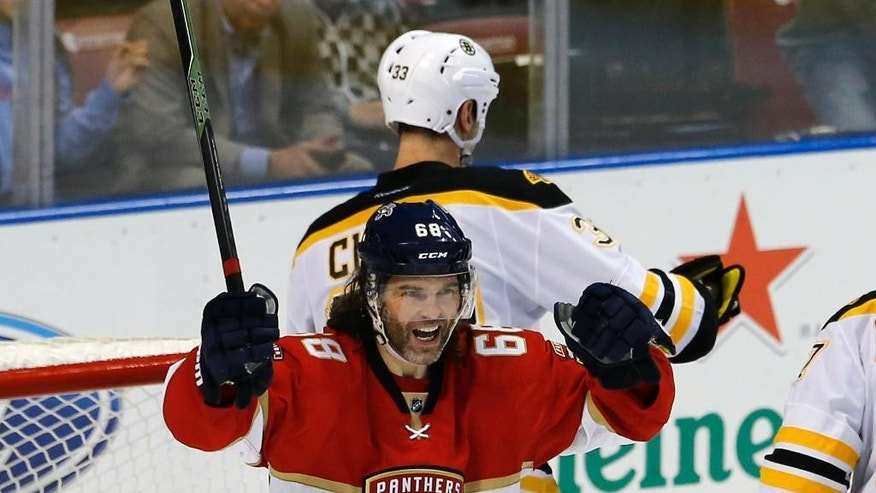 Florida Panthers right wing Jaromir Jagr (68) celebrates his assist, giving him 1,888 goals, second most in NHL history during the third period of play against the Boston Bruins in an NHL hockey game, Thursday, Dec. 22, 2016, in Sunrise, Fla. (AP Photo/Joe Skipper)