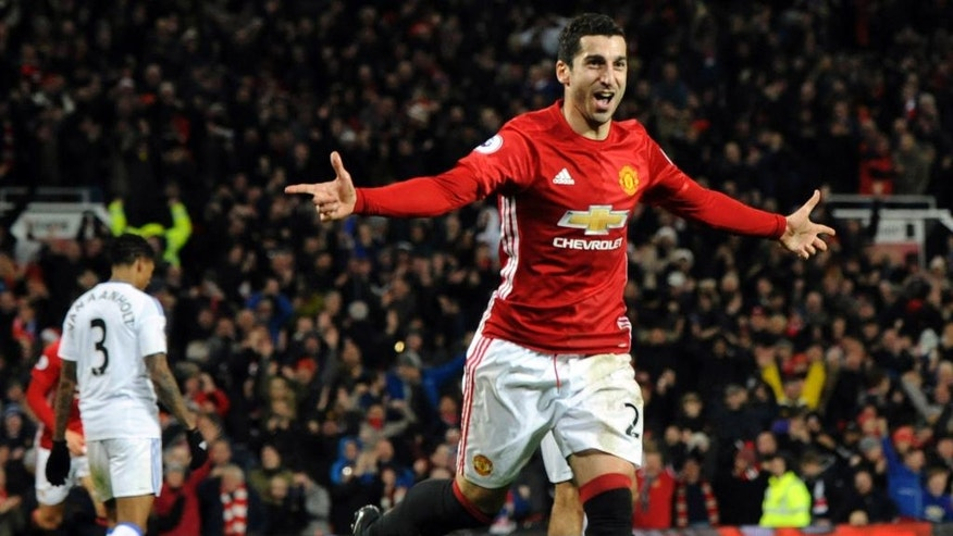 Manchester United's Henrikh Mkhitaryan celebrates after scoring his side's third goal during the English Premier League soccer match between Manchester United and Sunderland at Old Trafford in Manchester, England, Monday, Dec. 26, 2016. (AP Photo/Rui Vieira)