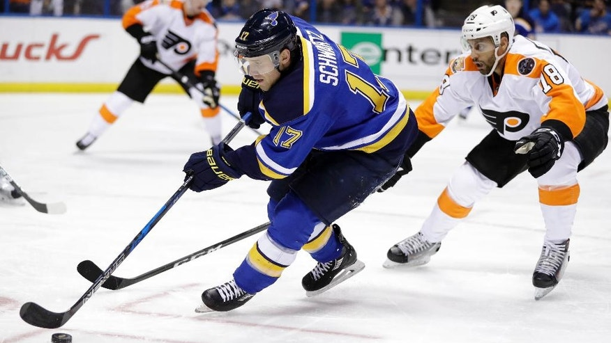 St. Louis Blues' Jaden Schwartz (17) controls the puck as Philadelphia Flyers' Pierre-Edouard Bellemare, of France, watches during the second period of an NHL hockey game, Wednesday, Dec. 28, 2016, in St. Louis. (AP Photo/Jeff Roberson)