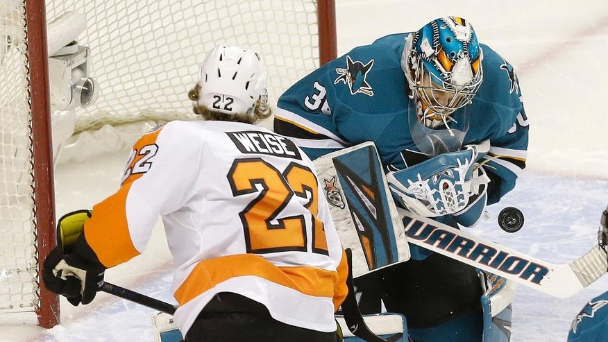 San Jose Sharks goalie Aaron Dell, right, defends a shot by Philadelphia Flyers right wing Dale Weise (22) during the first period of an NHL hockey game in San Jose, Calif., Friday, Dec. 30, 2016. (AP Photo/Jeff Chiu)