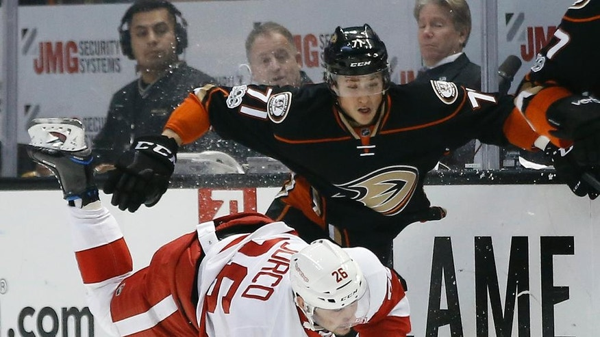 Anaheim Ducks defenseman Brandon Montour (71) knocks Detroit Red Wings right wing Tomas Jurco (26), of Slovakia, to the ice during the first period of an NHL hockey game in Anaheim, Calif., Wednesday, Jan. 4, 2017. (AP Photo/Alex Gallardo)