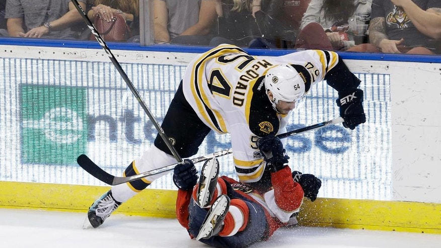 Fans, top, react as Boston Bruins defenseman Adam McQuaid (54) falls on Florida Panthers center Michael Sgarbossa, bottom, after colliding in the second period of an NHL hockey game, Saturday, Jan. 7, 2017, in Sunrise, Fla. (AP Photo/Alan Diaz)