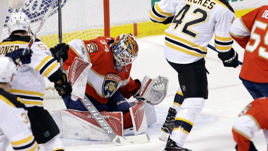 Boston Bruins right wing David Backes (42) scores a goal against Florida Panthers goalie James Reimer (34) in the send period of an NHL hockey game, Saturday, Jan. 7, 2017, in Sunrise, Fla. (AP Photo/Alan Diaz)