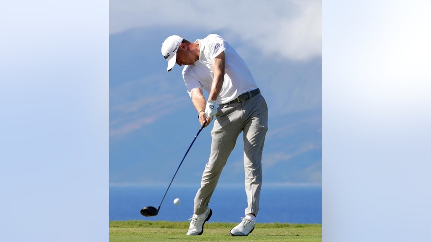 Justin Thomas hits from the 13th tee during the third round of the Tournament of Champions golf event, Saturday, Jan. 7, 2017, at Kapalua Plantation Course in Kapalua, Hawaii. (AP Photo/Matt York)