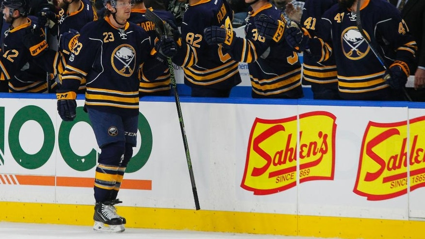 Buffalo Sabres forward Sam Reinhart (23) celebrates his goal against the Philadelphia Flyers during the second period of an NHL hockey game Tuesday, Jan. 10, 2017, in Buffalo, N.Y. (AP Photo/Jeffrey T. Barnes)