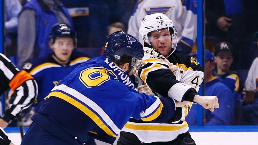 Boston Bruins' David Backes, right, throws a punch as he tangles with St. Louis Blues' Joel Edmundson during the second period of an NHL hockey game Tuesday, Jan. 10, 2017, in St. Louis. (AP Photo/Billy Hurst)