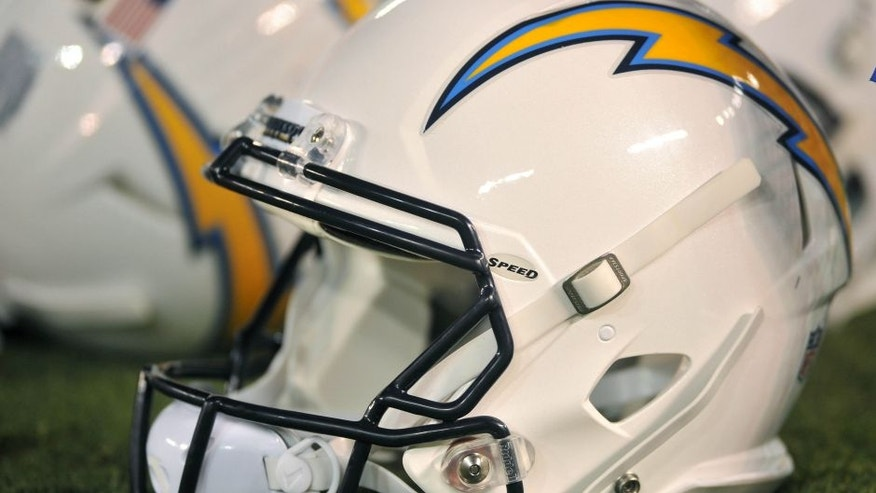 Aug 19, 2016; San Diego, CA, USA; A detailed view of a San Diego Chargers helmet during the second half of the game against the Arizona Cardinals at Qualcomm Stadium. San Diego won 19-3. Mandatory Credit: Orlando Ramirez-USA TODAY Sports