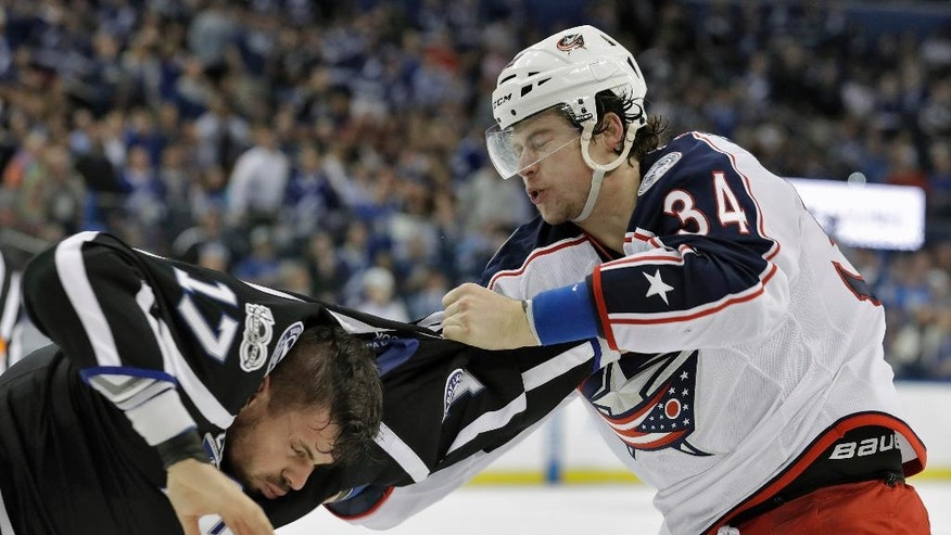 Columbus Blue Jackets right wing Josh Anderson (34) punches Tampa Bay Lightning left wing Alex Killorn (17) as they fight during the first period of an NHL hockey game Friday, Jan. 13, 2017, in Tampa, Fla. (AP Photo/Chris O'Meara)