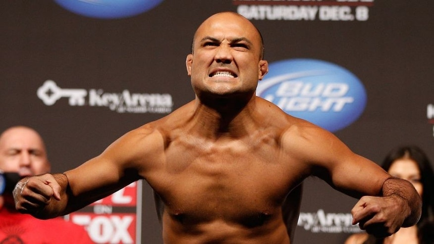 SEATTLE, WA - DECEMBER 07: BJ Penn weighs in during the official UFC on FOX weigh in on December 7, 2012 at Key Arena in Seattle, Washington. (Photo by Josh Hedges/Zuffa LLC/Zuffa LLC via Getty Images)