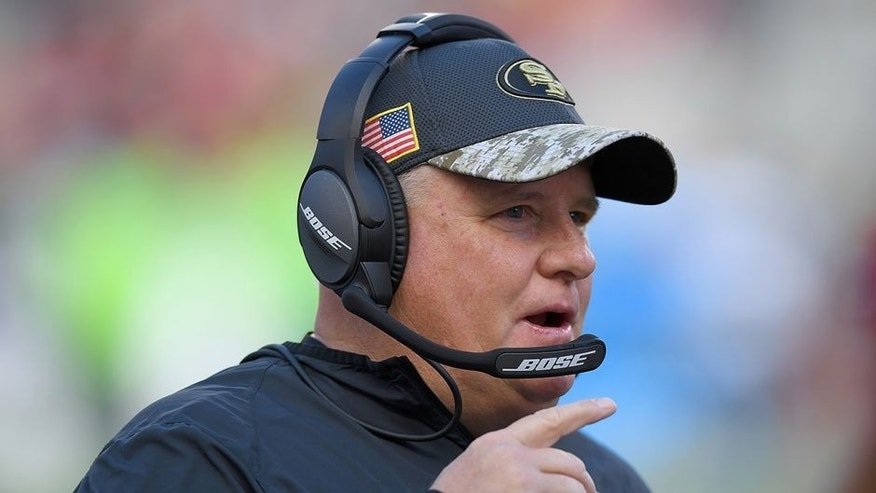 SANTA CLARA, CA - JANUARY 01: Head coach Chip Kelly of the San Francisco 49ers looks on from the sidelines against the Seattle Seahawks during the first quarter of their NFL football game at Levi's Stadium on January 1, 2017 in Santa Clara, California. (Photo by Thearon W. Henderson/Getty Images)