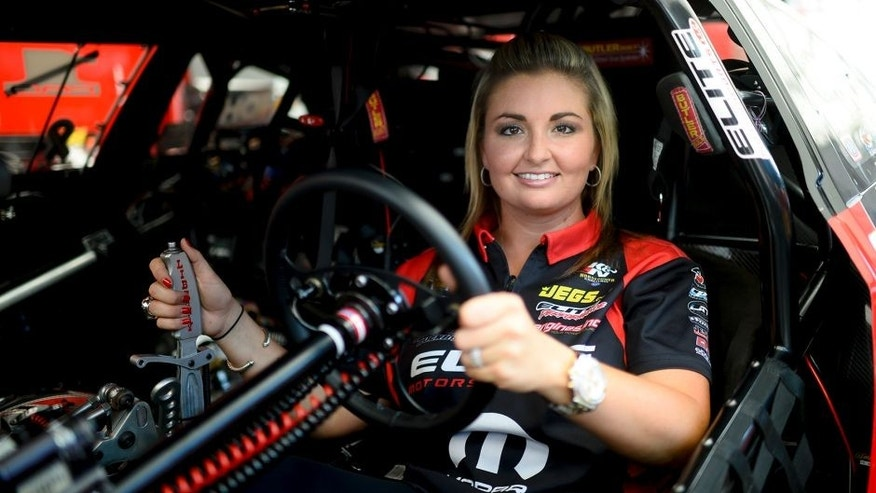 MORRISON, CO - JULY 23: Two-time Pro Stock champion Erica Enders is photographed in her car at Bandimere Speedway on July 23, 2016. (Photo by Michael Reaves/The Denver Post via Getty Images)