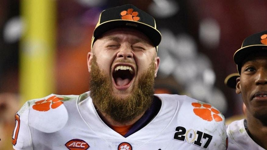 Jan 9, 2017; Tampa, FL, USA; Clemson Tigers linebacker Ben Boulware (10) reacts to defeating the Alabama Crimson Tide in the 2017 College Football Playoff National Championship Game at Raymond James Stadium. Mandatory Credit: John David Mercer-USA TODAY Sports