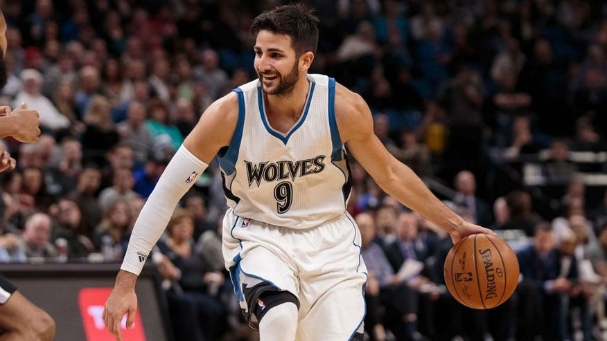 Dec 6, 2016; Minneapolis, MN, USA; Minnesota Timberwolves guard Ricky Rubio (9) dribbles in the second quarter against the San Antonio Spurs at Target Center. Mandatory Credit: Brad Rempel-USA TODAY Sports