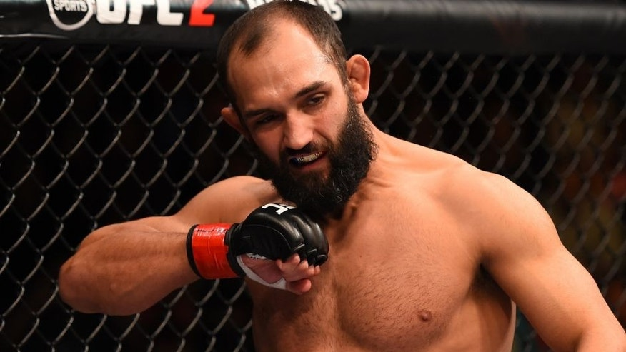 LAS VEGAS, NV - FEBRUARY 06: Johny Hendricks prepares to fight Stephen Thompson in their welterweight fight during the UFC Fight Night event at MGM Grand Garden Arena on February 6, 2016 in Las Vegas, Nevada. (Photo by Josh Hedges/Zuffa LLC/Zuffa LLC via Getty Images)