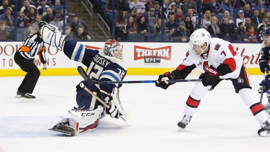 Ottawa Senators' Kyle Turris, right, scores against Columbus Blue Jackets' Sergei Bobrovsky, of Russia, during the first period of an NHL hockey game Thursday, Jan. 19, 2017, in Columbus, Ohio. (AP Photo/Jay LaPrete)