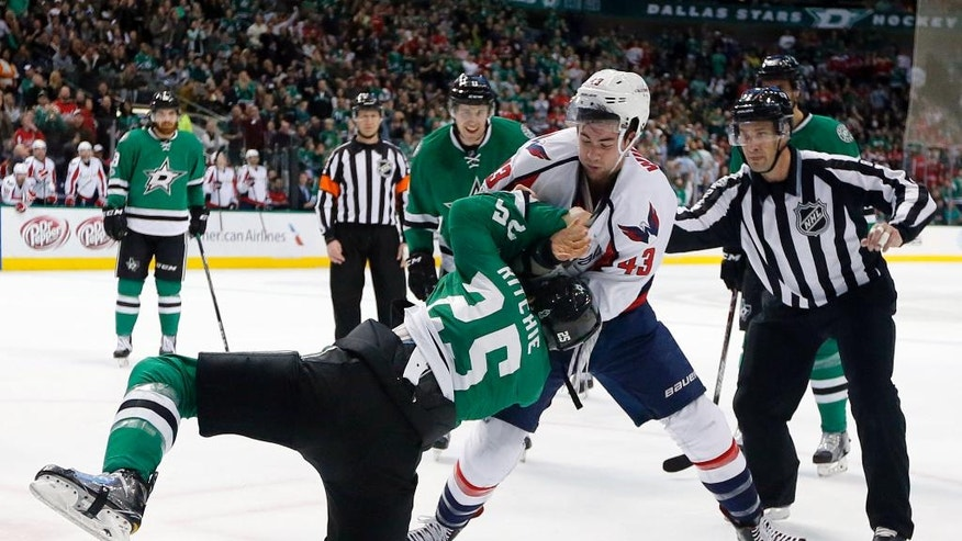 Dallas Stars' Brett Ritchie and Washington Capitals' Tom Wilson (43) fight in the first period an NHL hockey game, Saturday, Jan. 21, 2017, in Dallas. (AP Photo/Tony Gutierrez)