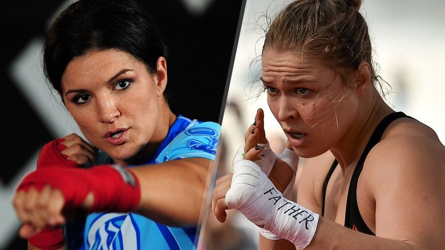 MMA Superstar Gina Carano is seen during the Workout/Media Day with Kimbo Slice and Gina Carano at the Legends Mixed Martial Arts Training Center on September 17, 2008 in Los Angeles, California. (Photo by Robert Laberge/Getty Images) Womens bantamweight champion Ronda Rousey of the United States holds an open training session at Pepe Beach on July 29, 2015 in Rio de Janeiro, Brazil. (Photo by Buda Mendes/Zuffa LLC/Zuffa LLC via Getty Images)