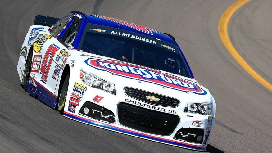 AVONDALE, AZ - MARCH 13: AJ Allmendinger, driver of the #47 Kingsford Charcoal Chevrolet, drives during practice for the NASCAR Sprint Cup Series CampingWorld.com 500 at Phoenix International Raceway on March 13, 2015 in Avondale, Arizona. (Photo by Chris Trotman/NASCAR via Getty Images)