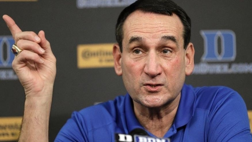 Duke basketball coach Mike Krzyzewski speaks to members of the media during a press conference in Durham, N.C., Thursday, Sept. 18, 2014.