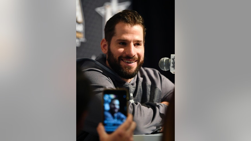 Anaheim Ducks' Ryan Kesler of the western conference NHL All-Star hockey team speaks during a media availability, Saturday, Jan. 28, 2017, in Los Angeles. The NHL All-Star Game is scheduled to be played at Staples Center on Sunday. (AP Photo/Mark J. Terrill)
